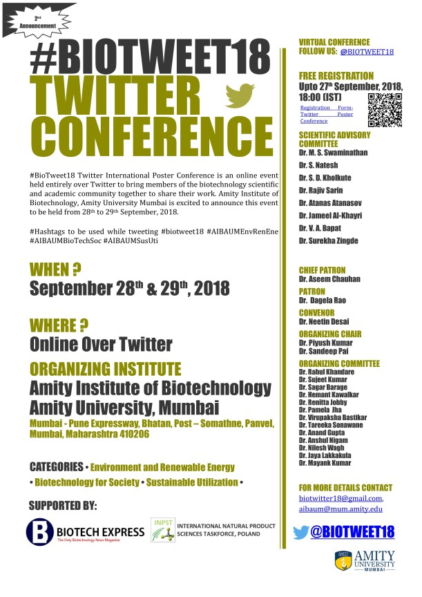 BioTweet18 Flyer - 2nd Announcement